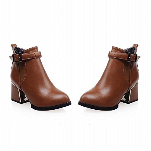 Cinturino Fibbia Moda Donna Latasa Grosso Tacco Medio Alto Alla Caviglia Stivali Chelsea, Stivali Jodhpur Giallo