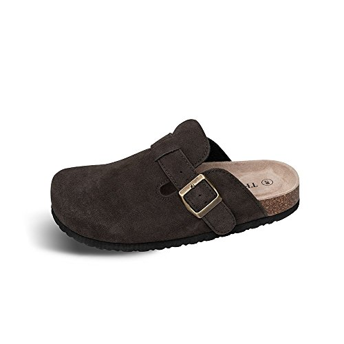 TF STAR Unisex Boston Soft Footbed Clog Suede Leather Clogs, Cork Clogs Shoes for Women Men,Brown,7 M - Suede Brown Mules
