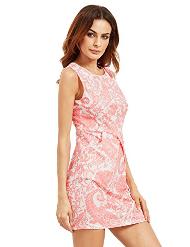Floerns Womens' Pocket Sleeveless Tribal Print Bodycon Dress Pink L (Sleeveless Tribal Print)