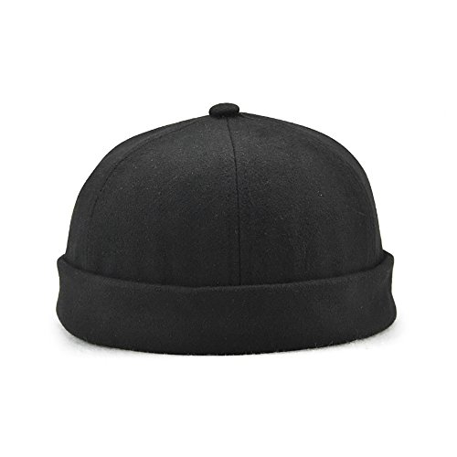 Winmany Unisex Women Men skullcap Sailor Cap Rolled Cuff Retro Brimless Beanie Hat, Black, Large -