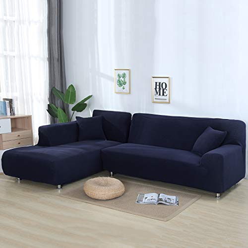 Hengwei Sectional Sofa Cover Stretch Couch Slipcover 1 Pcs DIY (Buy 2/3 for L / U Shape Sofa)-Soft Polyester Fabric Form Fit Furniture Protector for Kids Pets Home Gift(Blue, A-3 Seat 74-90in)