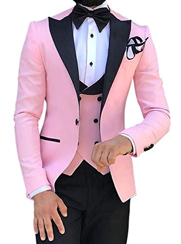 Aesido Casual Men's Suits Slim Fit 3 Piece Notch Lapel Prom Tuxedos Groomsmen for Wedding (Blazer+Vest+Pants)(Pink,34US) -