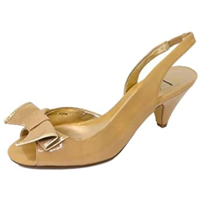 1ca5bf3f304 Ladies Beige Patent Sling-Back Peep-Toe Low Heel Sandals Womens Shoes   Amazon.co.uk  Shoes   Bags