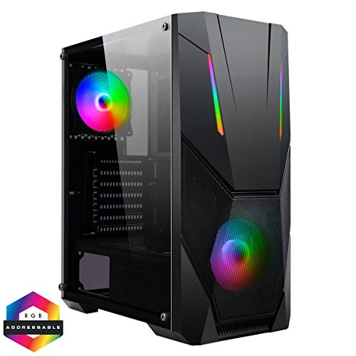 CiT Master ARGB PC Gaming Case, ATX, 2 x 120mm ARGB Fans Included, 2 x ARGB LED Strips Included, 3 Pin AURA Sync, 8 Fan Support, Water-Cooling Ready | Black