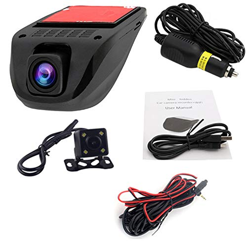 1080P Dash Cam Full HD Front and Rear 170 Degree Wide Angle Wi-Fi Car Dash Cam, Driving Recorder with G-Sensor, Dash Cam with Rear Camera, G-Sensor, WDR, Loop Recording, (Two cameras-front and back) ()