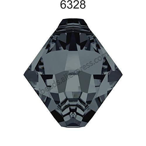 (Calvas (6 Pcs) Original Crystal from Swarovski 6328 XILION Bi-Cone Pendant Loose Beads top Hole for DIY Jewelry Making Clothing Garment - (Color: Graphite 253, Item Diameter: 6mm x 6Pcs))