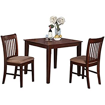 East West Furniture OXNO3 MAH C 3 Piece Kitchen Table Set, Mahogany
