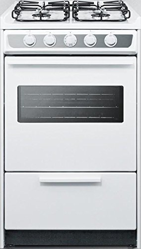WTM1107SWRT 20 Gas Range with 4 Sealed Burners 2.46 cu. ft. Oven Capacity Porcelain Construction Electronic Ignition Oven Viewing Window and 2 Oven Racks in White by Summit