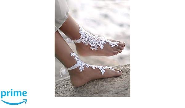 ea882b3402b3 Amazon.com  White Lace Bridal Barefoot Sandals