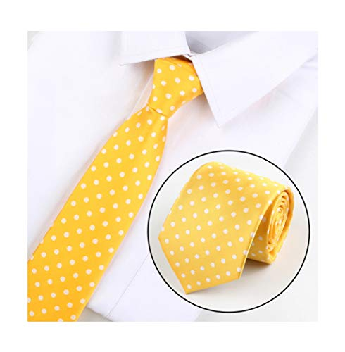 (Men Yellow White Dot Silk Wedding Self Cravat Daily Dress Tie Best Birthday Gift)