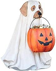 LYEAA Spöke hund godisskålhållare med livstorlek, bus eller godis trollkarl spöke hund hinkar, halloween pumpa mellanmål skål stativ inomhus utomhus halloween fest dekorationer gåvor (hund)