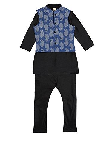 45c67e1ca1 K&U Boy's Black Kurta Pyjama Jacket Set 5-6 Y   W Jacket Outlet