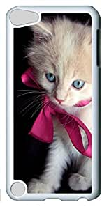 Fashion Customized Case for iPod Touch 5 Generation Cool White Plastic Case Back Cover for iPod Touch 5th with Little Kitty