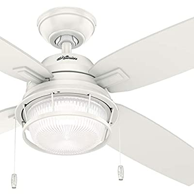 Hunter Fan 52 inch Casual Fresh White Indoor/Outdoor Ceiling Fan with LED Light Kit (Certified Refurbished)