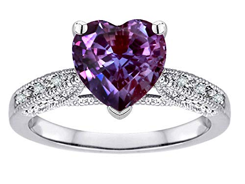 (Star K Heart-Shape 8mm Simulated Alexandrite Antique Vintage Style Solitaire Engagement Promise Ring 10k White Gold Size 5.5)