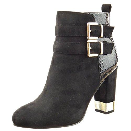 Sopily - Zapatillas de Moda Botines low boots A medio muslo mujer piel de serpiente multi-correa metálico Talón Tacón ancho alto 9.5 CM - Negro