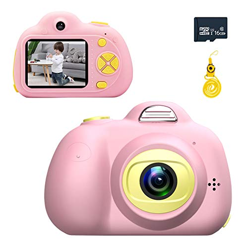 RUNZI Kids Camera Gifts for 3-9 Year Old Girls Boys, Mini Shockproof Cameras Digital Front and Rear Selfie Camera with Soft Silicone Shell for Outdoor Play, (16GB Memory Card Included), ()