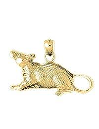 18K Yellow Gold 19mm Rat Charm Pendant