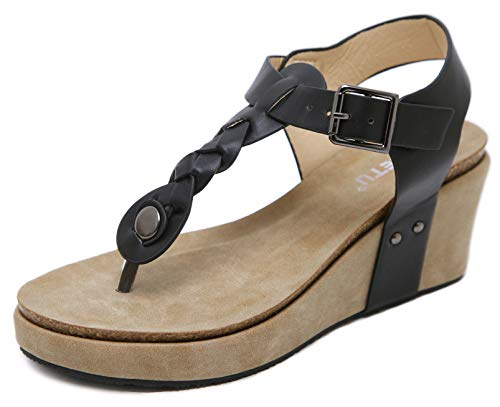 DolphinBanana Women's T-Strap Comfy Summer Wedge Heel Thong Sandals - Perfect Height Great Moisture Management Cushiony Insole Flattering to Your Leg Beach Wedding Vacation Classy Black Patent Leather