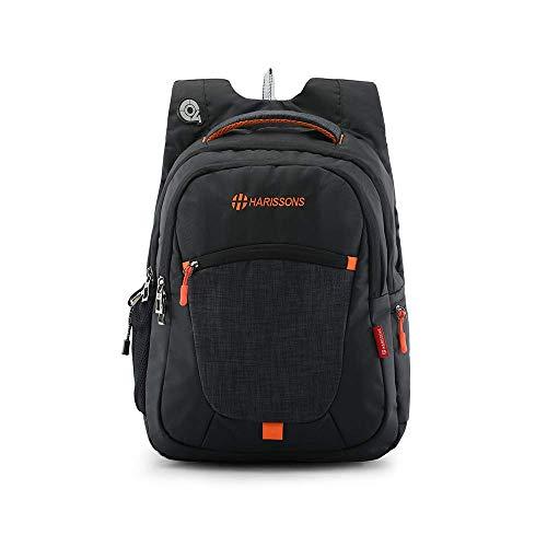 Harissons Bags Delta 39 L Polyester Black 15.6″ inch Laptop Backpack | Office, College, Travel Bag (Black, Orange)