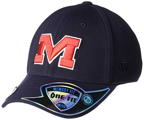 Top of the World Mississippi Old Miss Rebels Men's Memory Fit Hat Icon, Navy, One Fit]()
