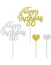 20-pack 'Happy Birthday' tårtdekorationer, YuCool födelsedagsfestdekorationer glitterbokstäver med 10-pack hjärtformade dekorstavar – guld och silver
