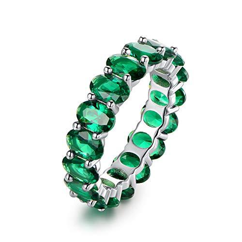 (Barzel Rhodium Plated Eternity Cubic Zirconia Ring (Emerald, 8))