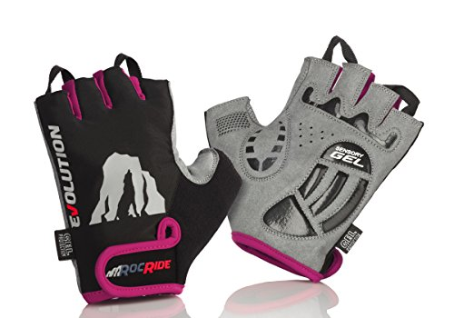 RocRide Cycling Gloves with Gel Padded Protection. Road and Mountain Biking. Half with Pull Tabs Men, Women and Children Sizes. (Pink, Womens Large)