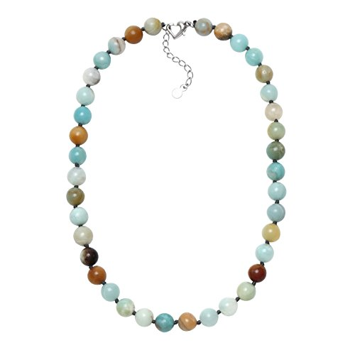 Aobei Natural Amazonite Chunky Necklace Hand Knotted 10MM Gemstone Beaded Handmade Jewelry for Women 18'' ()