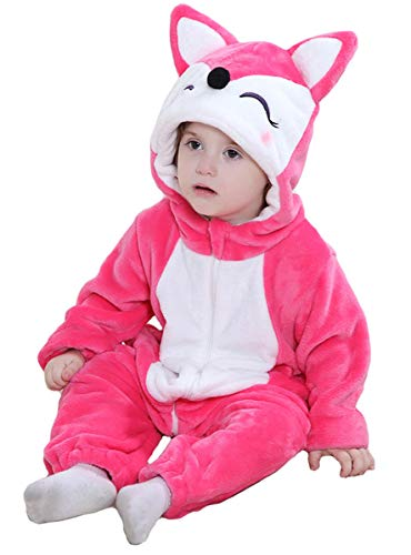 Tonwhar Unisex-Baby Animal Onesie Costume Cartoon Outfit Homewear (110:Ages 24-30 Months, Rose Fox) -