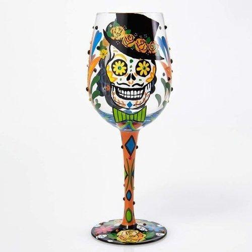 Lolita Sugar Skull Artisan Painted Wine Glass Gift (Skull Glasses)