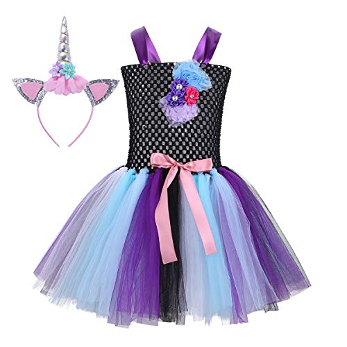 Freebily Girls Cartoon Skirt and Headband Cosplay Costume Halloween Party Outfits Black 10-12 -