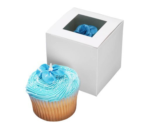Darice 1404-281, Cupcake Box with Window, 24-Pieces per package, 3-1/2-Inch-by-3-1/2-Inch-by-3-1/2-Inch -