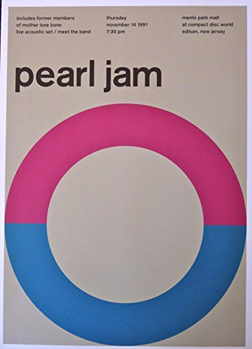 Pearl Jam - Live at a Mall in Jersey 1991 - Concert Advertising Poster - 10x14