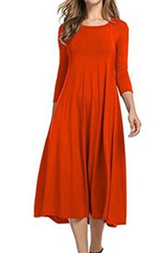 Elegante Donne Swing Vestito Orange Tunica Midi Le Estate Solido Vestiti Festa E6qxwca