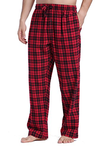 - CYZ Men's 100% Cotton Super Soft Flannel Plaid Pajama Pants-BlackRedTartan-S