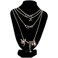 Women Fairy Key Love Heart Once Upon A Time Letters Charm Multilayers Necklace