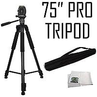 "Pro 75"" Tripod 3-way Panhead Tilt Motion w/ Built In Bubble Leveling for Sony A77ii a6000 a6300 a6500 a5100 a5000 a3000 A58 A37 A68 A99 A99 II a7 a7R a7S a7 II a7R II a7S II a9 Digital Cameras"