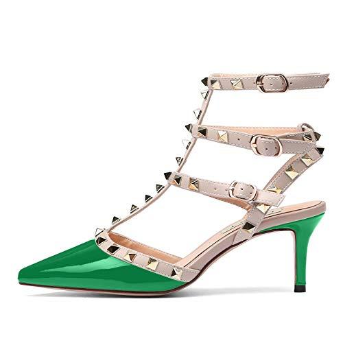 Womens Leather Buckle Studded Sandals T-Strap Kitten Pumps Dress Sandals Green 8