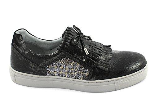 Informal Zapatos Resbalón Negro Jardines 19520 Nero Franja de Grigio Giardini Deportiva Zapatilla Mujeres Grises Las COqwXYX