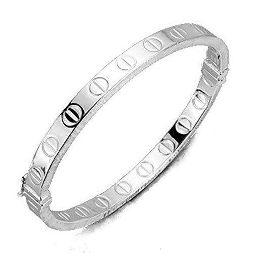 18k or blanc bracelet bague cana demi vis carrés [7263]
