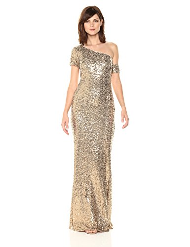 Badgley Mischka Women's Asymmetrical Sleeve Sequin Gown, Gold, 16 (Badgley Mischka Long Sleeve Jersey Beaded Gown)