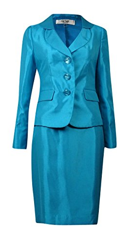 Satin Skirt Suit - Le Suit Torino Ocean Womens Satin Shantung Skirt Suit Set 10