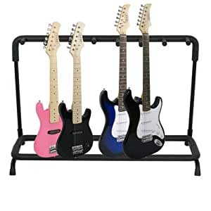 deluxe multiple guitar stand rack 7 acoustic electric and bass guitars holder. Black Bedroom Furniture Sets. Home Design Ideas