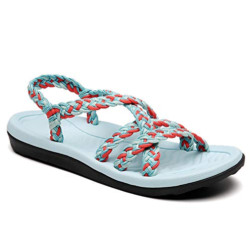 MEGNYA Women's Comfortable Flat Walking Sandals with Arch Support Waterproof for Walking/Hiking/Travel/Wedding/Water Spot/Beach. ZDKDME01-Blue/Coral/CorydAils Blue-9-W12