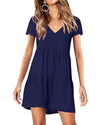 (kenoce Women's Short Sleeve Tunic Dress V Neck Summer Casual Mini Dress Pleated Loose Flowy Swing Shift Dresses)