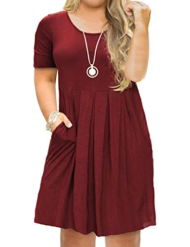 Tralilbee Women's Pockets Short Sleeve Casual Swing Loose Plus Size Dress Wine Red 2XL (Plus Size Club Dresses 2x)