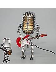 Microfoon Robotlamp, Metalen Craft Retro Nachtlicht, Cool en schattig bureaulamp, Robot Lamp Kantoor, Slaapkamer, Woonkamer, Zilver (Rode Gitaar)