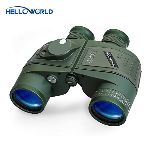 World Optical Binoculars 10X50 Marine Military Binoculars with Night Vision Rangefinder and Compass 100% Waterproof BAK4 for Adults Kids for Floating Birdwatching Hunting with Carry Bag and Strap (Best Night Vision Binoculars Under $200)