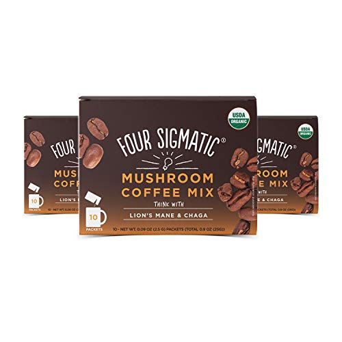 Four Sigmatic Mushroom Coffee Lion's Mane and Chaga Pack of 3 (30 Packets Total) ()